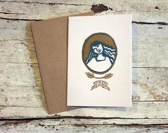 Virgo zodiac letterpress linocut blank card