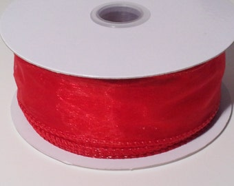 Wired Edge Organza Ribbon - Red - 10 Yards