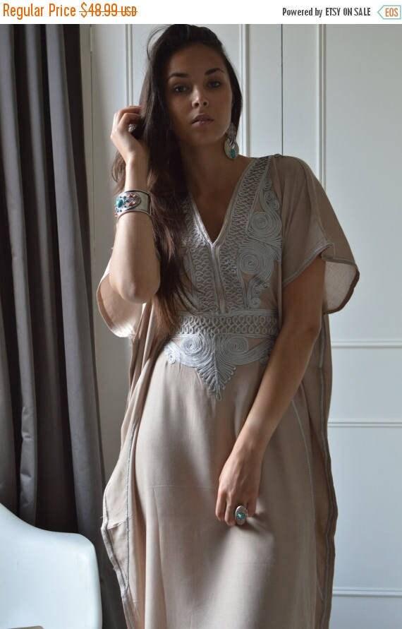 Kaftan Dress Beige Caftan Resortwear with Grey Embroidery -loungewear,resortwear,Birthdays, Honeymoon gifts, winter dress, Ramadan, Eid