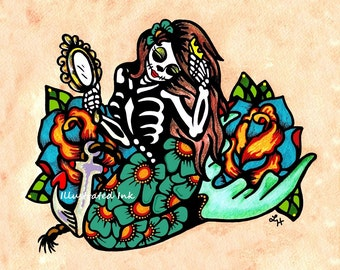 Day of the Dead MERMAID Dia de los Muertos Art Print 5 x 7, 8 x 10 or 11 x 14