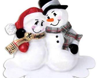 Personalized Pregnant Snowman Couple Christmas Ornament