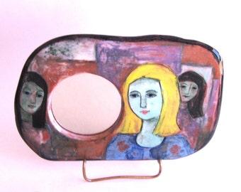 Mirror Handpainted Terra Cotta  - The Three Graces