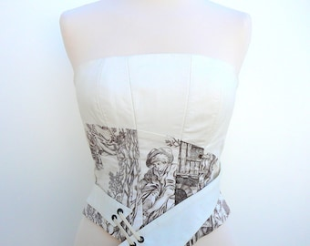 Strapless corseted asymmetrical toile de Jouy, ecru and Brown.