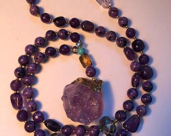 Purple Quarz Beaded Necklace