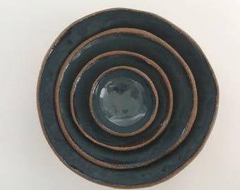 Ceramic Nesting Bowl Set, Blue Stoneware Pottery Bowls