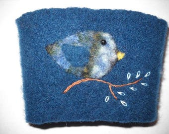 Felted Wool Blue Bird Coffee Cozy Cup Sleeve