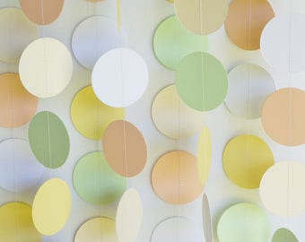 Neutral Baby Shower Decoration, Paper Garland, Peach, Yellow, Green, Cream, White Party Decor, Paper Circle Garland, Dot Garland 10 ft