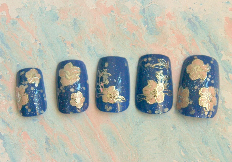 Sparkling Sakura Fake Nails, Press On Nails, Sakura, False Nails Set ...