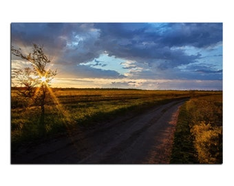 Road across the field, digital download, sunset,  landscape, oil painting imitation, home decor, digital art,  field, painting from Photo,