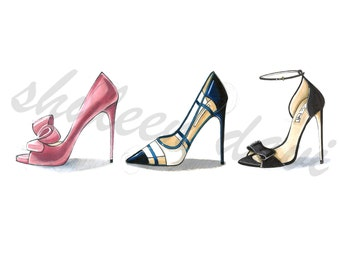"Fashion Illustration Print ""Shoe Dreams"" (unframed)"