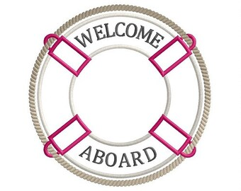 Welcome Aboard life buoy frame machine embroidery design