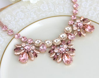 Rose gold Bridal necklace, Swarovski Wedding necklace, Wedding jewelry, Statement necklace, Blush crystal necklace, Bridal jewelry, Vintage
