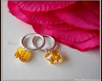 Endless Hoop with Swarovski Butterfly Half Inch Sterling Silver Earrings E045