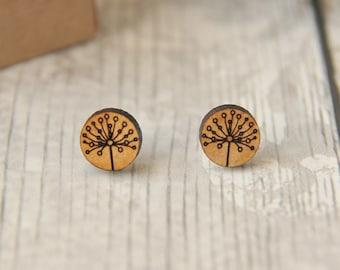 Blossom Wooden Lasercut Round Stud  Earrings, flower earrings, Botanical studs