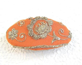 Rust silver beaded hair barrette, thick hair clip, party accessory