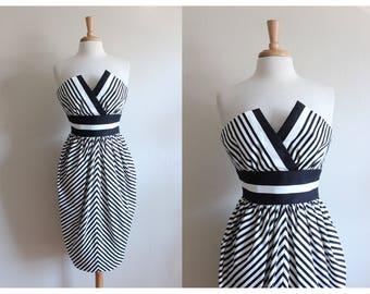 Vintage Black & White Stripe Strapless Victor Costa Dress