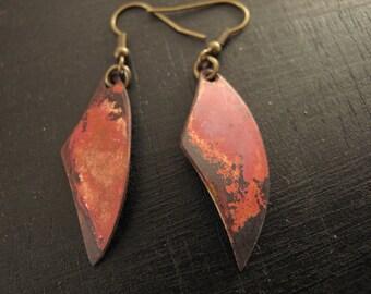 patinated brass ear earrings