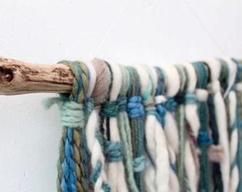 Wall hanging, Natales, Long blue wall hanging, fiber art