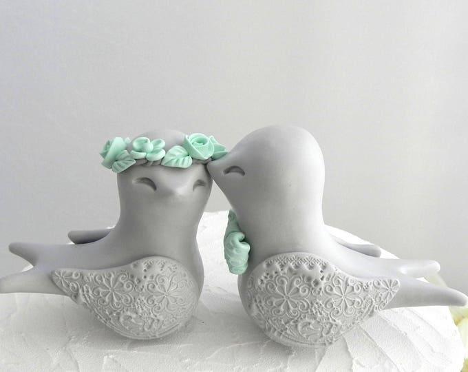 Swallowtail Love Bird Wedding Cake Topper, Gray and Mint Green, Bride and Groom Keepsake, Fully Custom