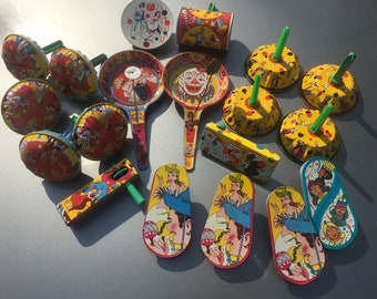 Vintage Metal Various Shaped & Colored Noisemakers