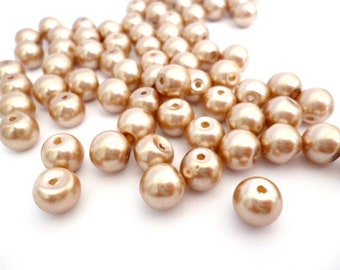 Lemon Chiffon Glass pearl beads _PA002154/56472 - glass beads -lemon chiffon OF 7 MM _pack 50 pcs