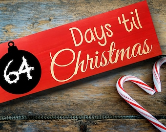 Rustic Christmas Countdown Wooden Chalkboard Sign