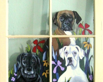 Custom Pet Portrait Painting, Rescue Dogs, Recycled Window Art, Pet Loss Memorial, Pet Rememberance, Wall Art, Boxer, Lab, Pitbull Painting