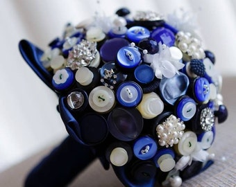 Something Blue Button Bouquet - navy midnight cream ivory bridal