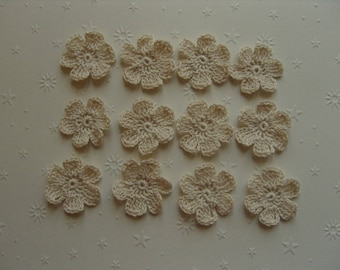 Crocheted appliques, set of 12, off-white flowers