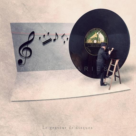 Vinyl Record, gift for music lover, music lover gift, music lover, vinyl record print, music themed art, music wall decor, vinyl etcher