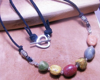 Natural Stone and Leather Showcase Necklace -Leather Jewelry -Stone Necklace