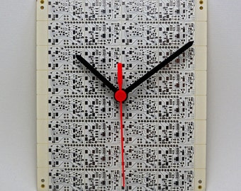 Clock printed circuit board white and silver (PCB printed circuit boards, Computeric Geek, Steampunk Technology).