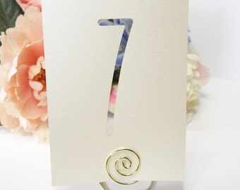 Modern Champagne Ivory Laser Cut Shimmer Table Number Cards