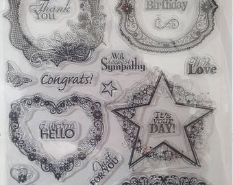 Hot off the press Lables and Frames clear rubber stamp set