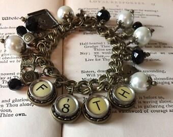 Faith Charm Bracelet, Vintage, Typewriter Keys, Easter Gift, Upcycled