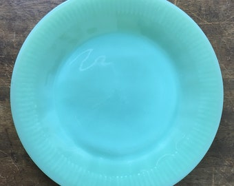 Fire King Jane Ray Luncheon or Salad Plate Green Milk Glass Vintage Glass 1940's