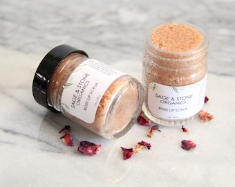 Rose Lip Scrub - Organic Lip Scrub - Natural Lip Scrub - Lip Balm - Vegan - Natural Skin Care - Organic - Lip Polish - Cruelty Free