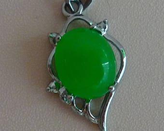 Treated Dyed Jade Jadeite Pendant Silvertone