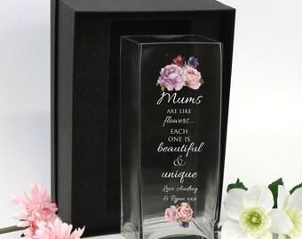 Personalised Printed Mothers Day Glass Vase Gift Mum Nan Grandma Wife