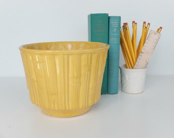 Vintage McCoy Yellow Bamboo Planter, Mid Century Modern, USA Pottery, Vintage Garden, Boho Chic