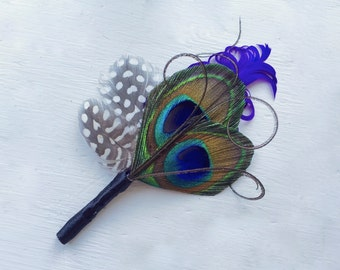 DAMIEN in Large Natural Peacock and Purple Feather Boutonniere