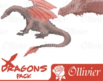 Dragons Clip Art-3 tones dragons clip art-6 different figures in 3 tones, wine, light & dark grey-Scrapbooking, Cards, Invites and more.