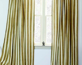 "SOLD OUT - Gold Stripe window curtains window treatment curtain ONE panel - 57""w x 96""  Hand Block Printed with Natural dyes, Cotton"
