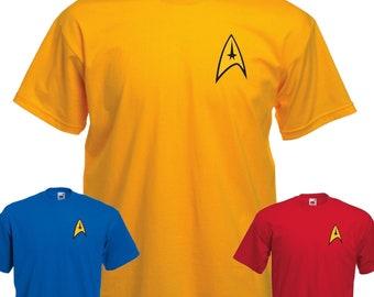 Star Trek Uniform T Shirt Captain Kirk Spock  Starfleet Enterprise