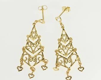14k Chandelier Dangle Tiered Scroll Filigree Post Back Earrings Gold