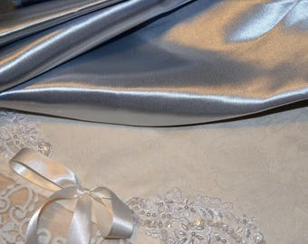 Pearl gray satin coupon satin stunning - 2 meters coupon