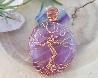 Fluorite Necklace, Fluorite Pendant, Purple Fluorite, Purple Crystal, Crystal Healing, Chakra Healing, Wire Wrap Crystal, Wire Wrap Jewelry