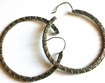 Ancient ethnic circular earrings silver 925