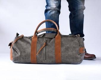 Mens duffel bag in grey, travel bag mens gym bag duffle bag mens carry on bag weekender bag crossbody bag - Nestor duffel bag