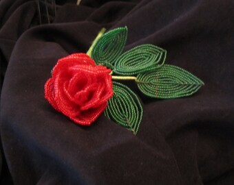 Vintage French beaded Red Rose Bud with leaves